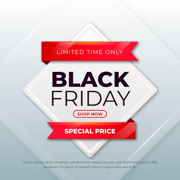 Realistic black friday banner Free Vector