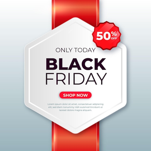 Realistic black friday banner Premium Vector