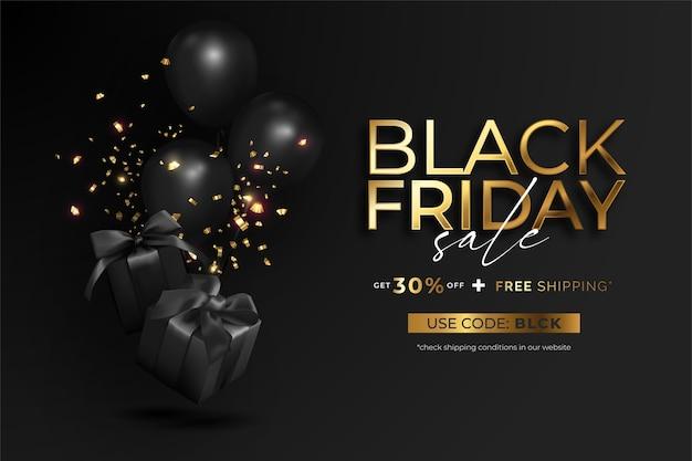 Реалистичный баннер продажи черной пятницы с подарками и воздушными шарами Бесплатные векторы