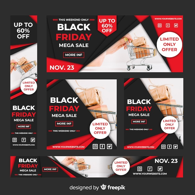 Realistic black friday sale web banner set with shopping cart Free Vector