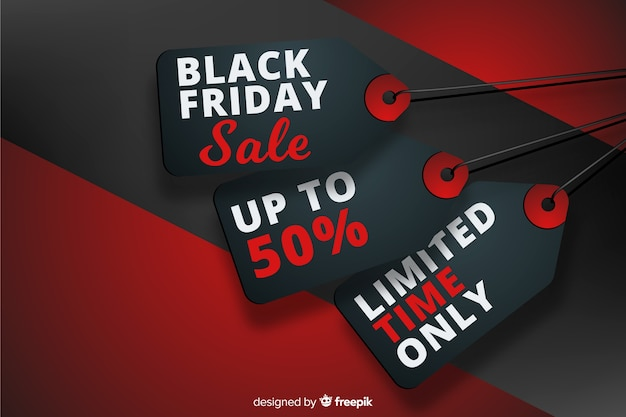 Realistic black friday tags with discounts Free Vector