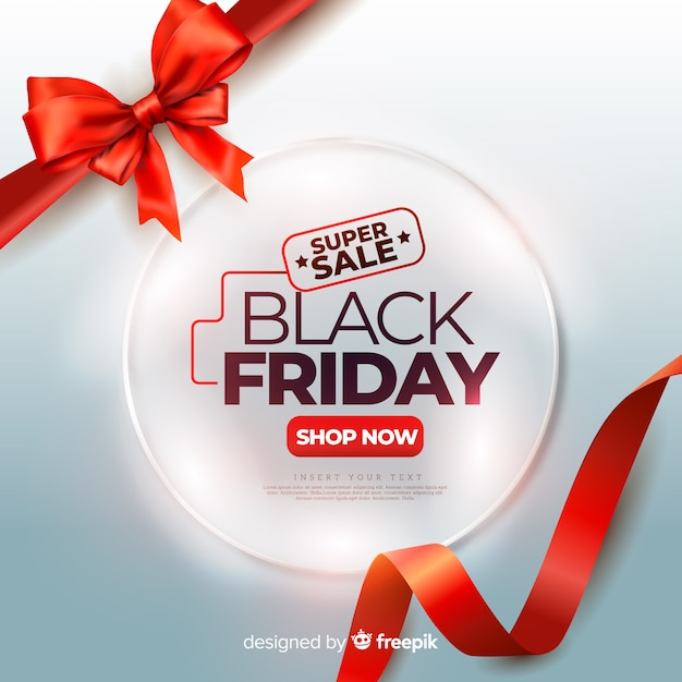 Realistic black friday with red cute ribbons Free Vector