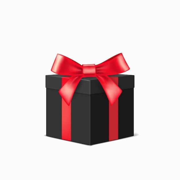 흰색 배경 위에 빨간 리본으로 현실적인 검은 선물 상자. 크리스마스 디자인 일러스트 프리미엄 벡터
