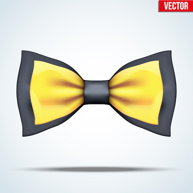 Realistic black and gold bow tie Premium Vector