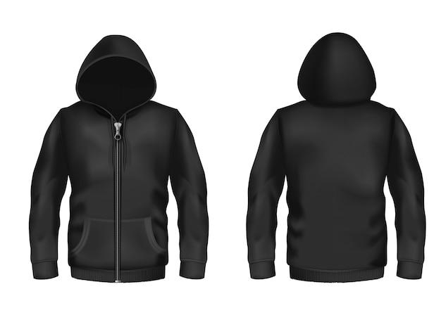 Реалистичный черный капюшон с застежкой-молнией, с длинными рукавами и карманами, случайная унисекс-модель Бесплатные векторы