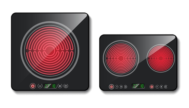 Realistic black induction cooktops or glass-ceramic cooking panels, hobs with one and two hea Free Vector