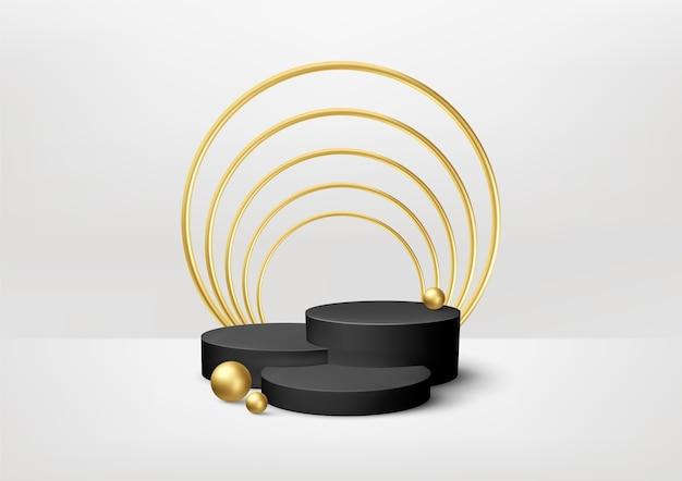 흰색 바탕에 황금 장식 요소와 현실적인 블랙 제품 연단 쇼케이스. 프리미엄 벡터
