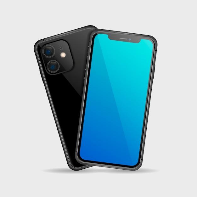 Реалистичный черный смартфон спереди и сзади Бесплатные векторы