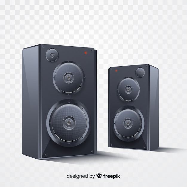 Realistic black speaker group background Free Vector