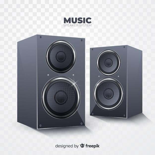 Realistic black speaker group background Free Vector