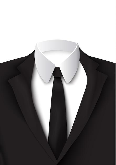 Oggetto abito nero realistico su bianco con camicia di cotone, cravatta rigorosa ed elegante colorata come giacca isolata Vettore gratuito