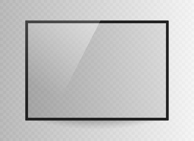 Реалистичные черный телевизионный экран, изолированные на прозрачном фоне. 3d пустой телевизор светодиодный монитор. Premium векторы