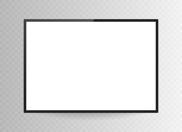 Realistic black television screen isolated on transparent background. 3d blank tv led monitor. Premium Vector