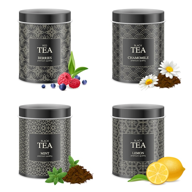 Realistic blak tea tins set Free Vector