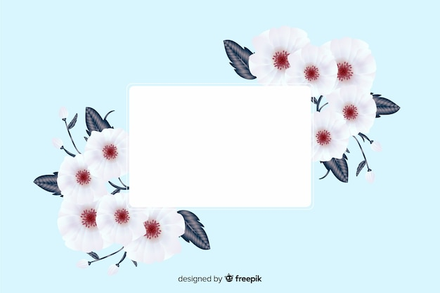 Realistic blank banner with floral frame Free Vector