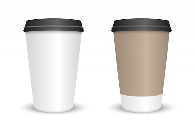 Realistic blank coffee cup set isolated. vector illustration Premium Vector