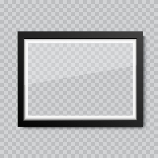 Realistic blank glass picture or photograph frame Premium Vector