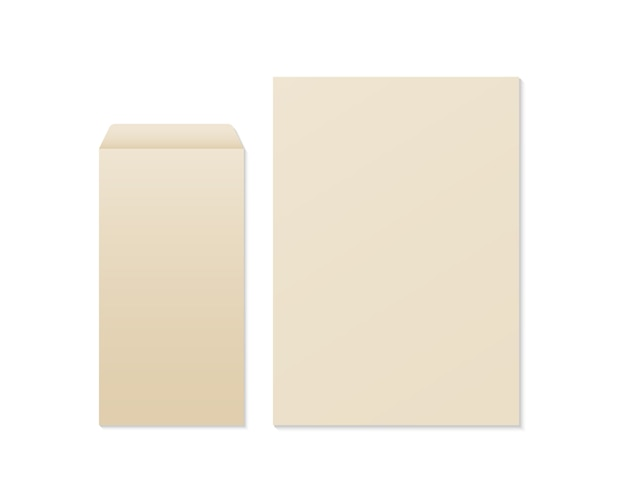 Realistic blank kraft envelope and paper.  envelope and paper mockup. template for business and branding identity. Premium Vector