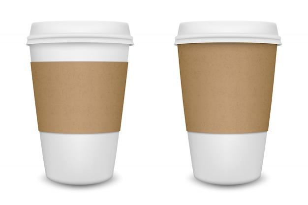 現実的な白紙のコーヒーカップは、白い背景に設定します。テンプレート。 Premiumベクター