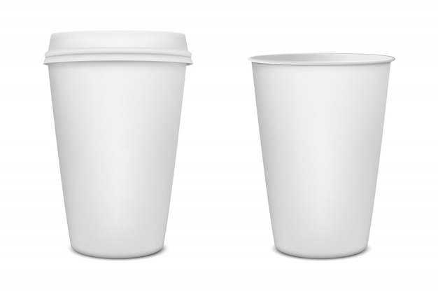 Realistic blank paper coffee cup set  on white background.   template. Premium Vector