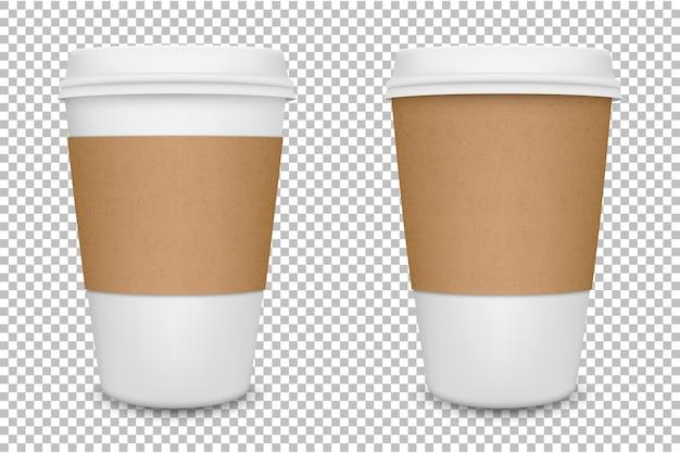 現実的な白紙のコーヒーカップセット。 。 Premiumベクター