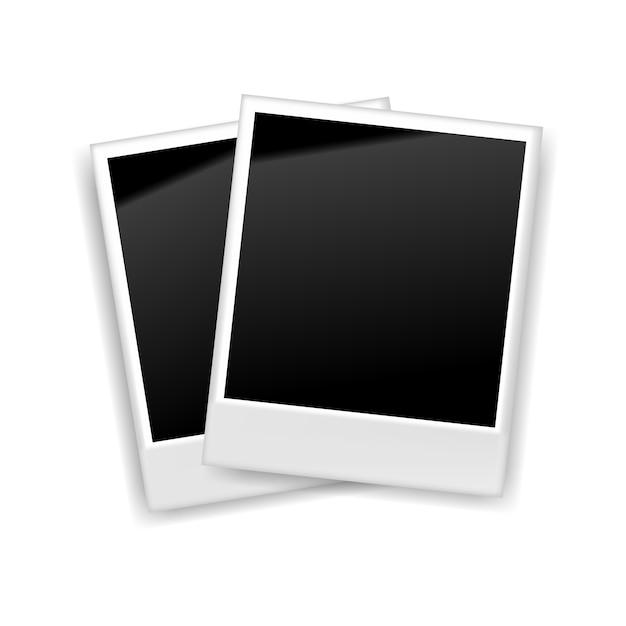 Realistic blank retro photo frame, vector illustration Premium Vector