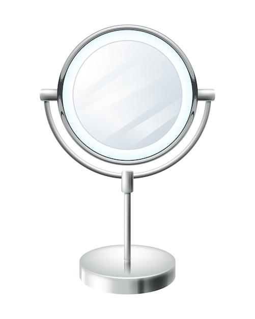 Realistic blank round make up mirror illustration. beauty fashion symbol. Premium Vector