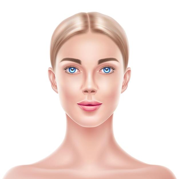 현실적인 금발 여자 모델 아름다움 얼굴 프리미엄 벡터