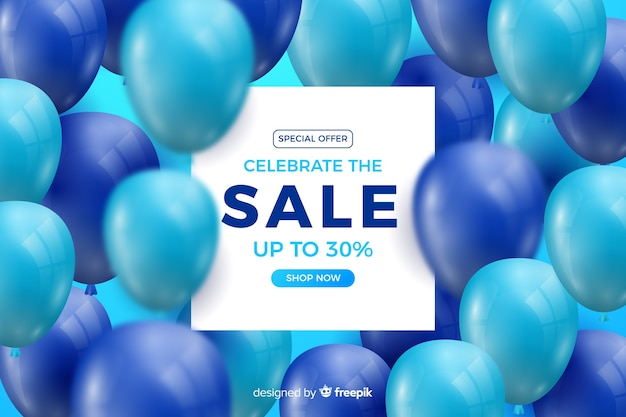 Realistic blue balloons sale background with text Free Vector