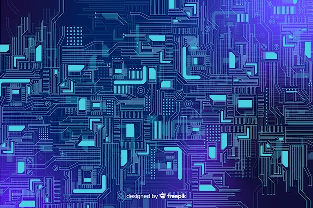 Realistic blue circuit board backgrond Free Vector