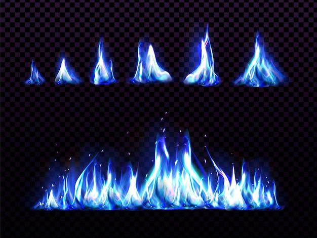 Реалистичный синий огонь для анимации, пламя факела Бесплатные векторы