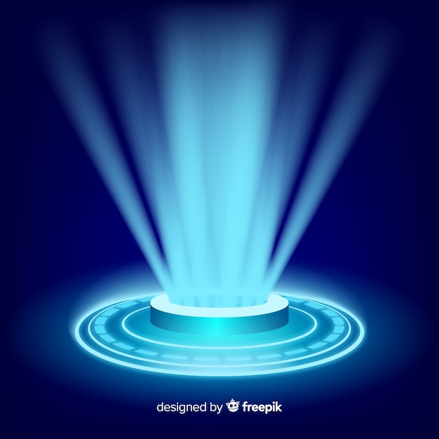 Realistic blue hologram portal background Free Vector