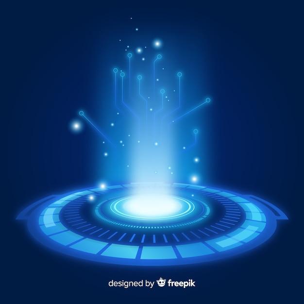 Realistic blue hologram portal background Free Vector