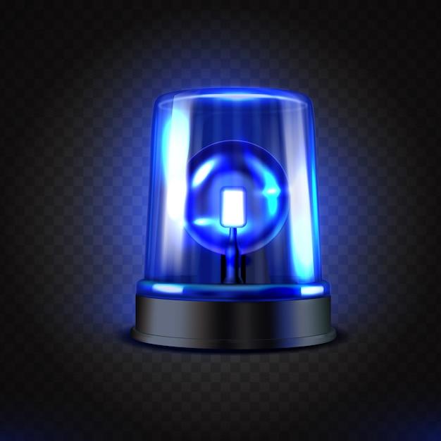 Realistic blue led flasher. Premium Vector