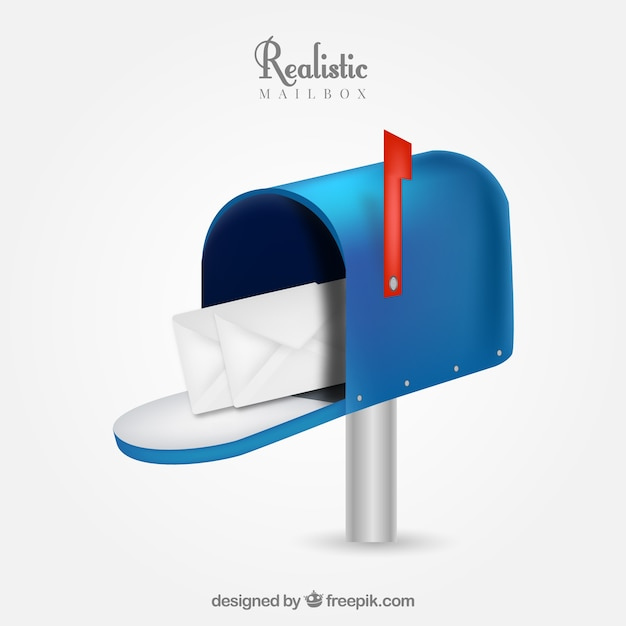 Realistic blue mailbox Free Vector
