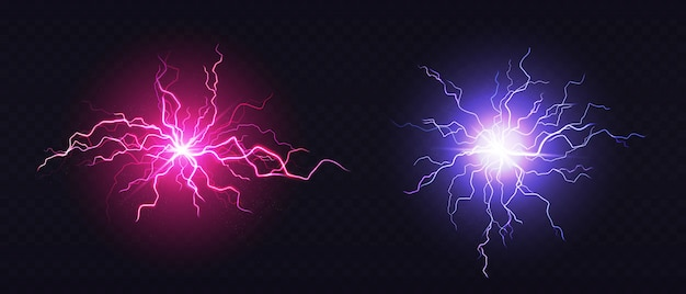 Realistic blue and pink lightning balls Free Vector