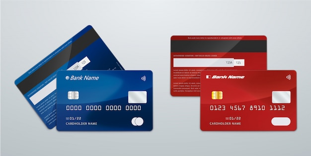 Realistic blue and red credit card Premium Vector