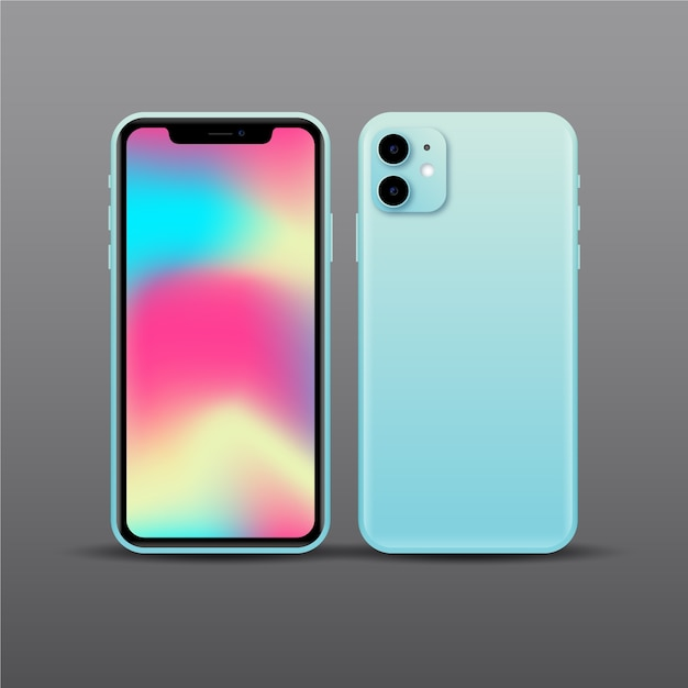 Realistic blue smartphone design with two cameras Free Vector