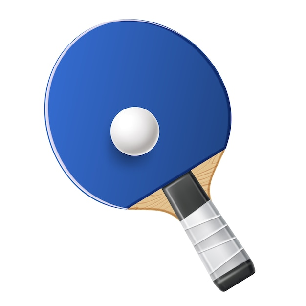 Realistic blue table tennis rocket with ball pingpong sport equipment Premium Vector