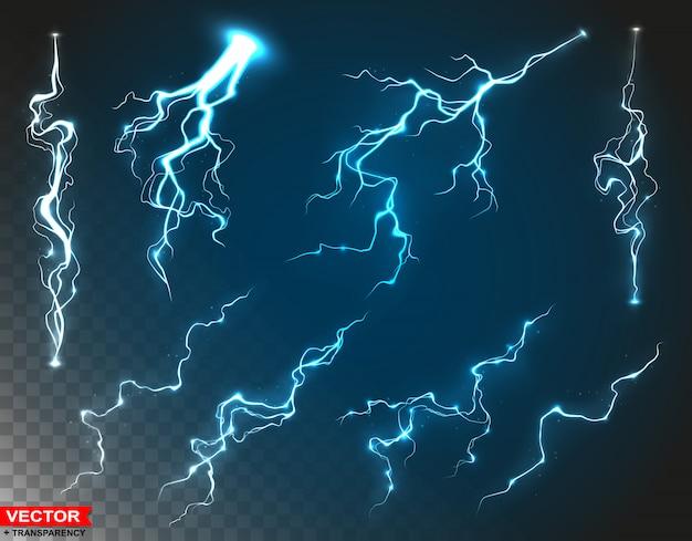 現実的な青い雷雨雷セット Premiumベクター