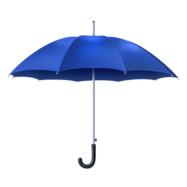 Realistic blue umbrella Free Vector