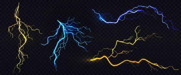 Realistic blue and yellow lightning bolts Free Vector
