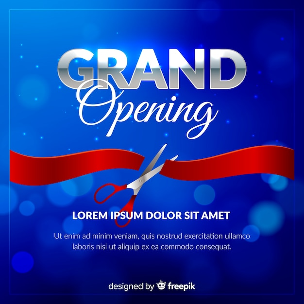 Realistic blurred grand opening poster Free Vector