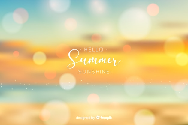 Realistic blurred hello summer background Free Vector