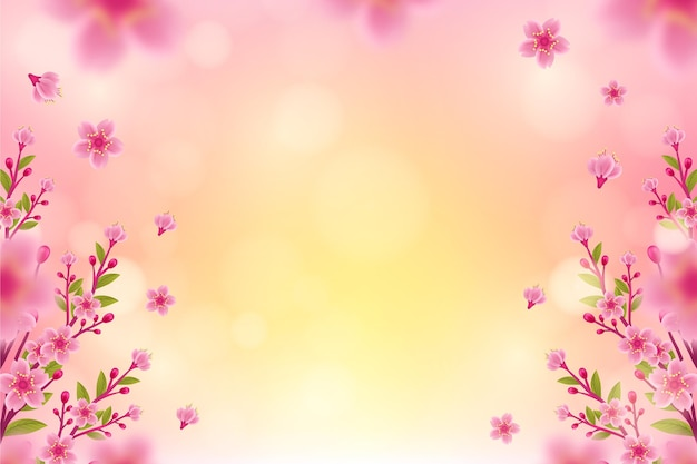 Realistic blurred spring background Free Vector