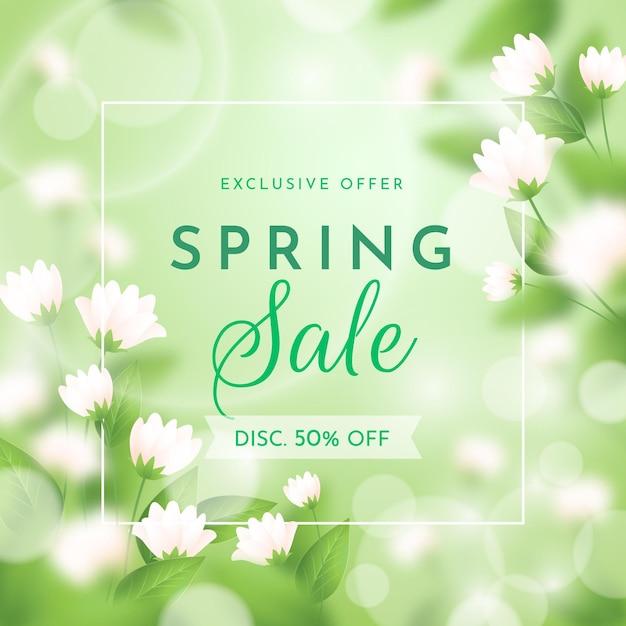 花とリアルなぼやけた春のセールイラスト 無料ベクター