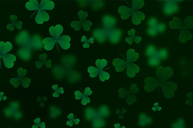Realistic blurry st. patrick's day wallpaper Free Vector