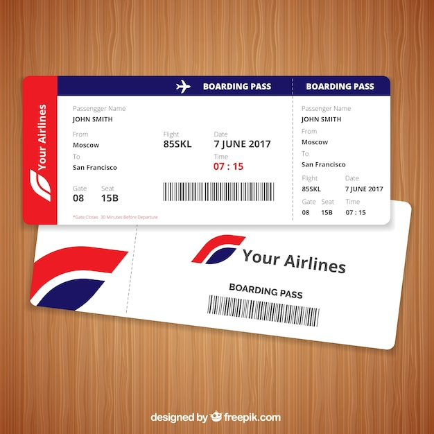 Realistic Boarding Pass With Blue And Red Details Vector Free Download