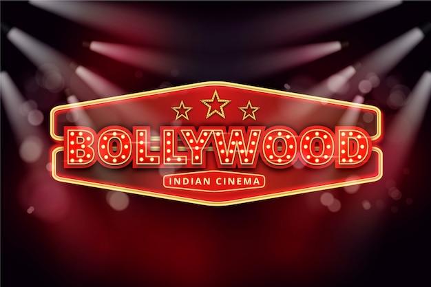 Realistic bollywood cinema sign Free Vector