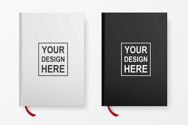 Realistic book blank cover set isolated on white background Premium Vector